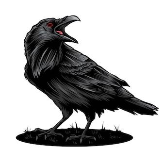 Logotipo de vetor e ilustração de corvo