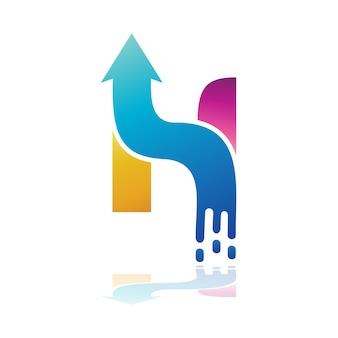 Logotipo de vetor letra h seta