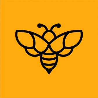 Logotipo de vetor minimalista de abelha