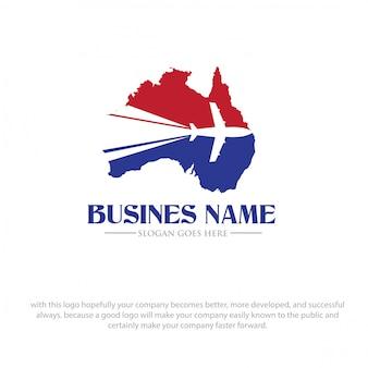 Logotipo de viagem de mapa de austrália