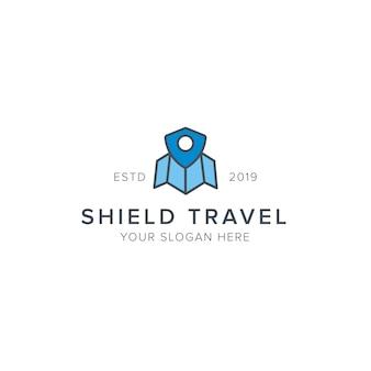 Logotipo de viagem escudo