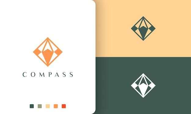 Logotipo de viagem ou aventura com um formato de bússola simples e moderno