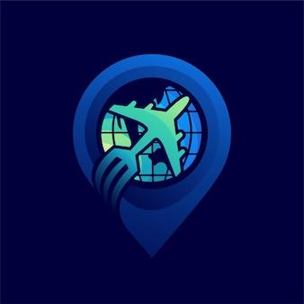 Logotipo de viagens com conceito de localização de pinos