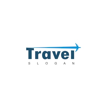 Logotipo de viagens com símbolo de avião