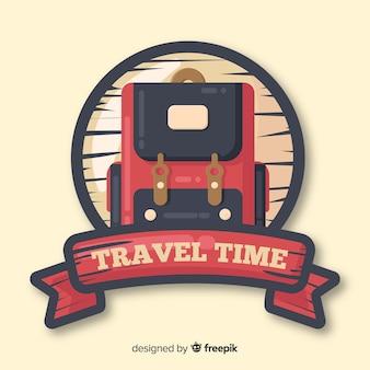 Logotipo de viagens vintage plana