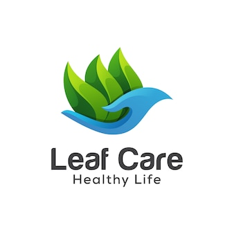 Logotipo de vida saudável de cuidados de folha, modelo de vetor de design de logotipo gradiente de folhas de saúde