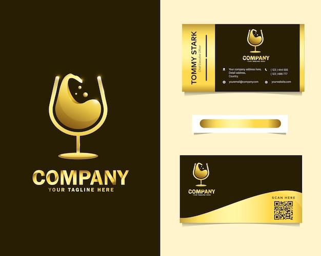 Logotipo de vinho de luxo com modelo de cartão de visita de papelaria