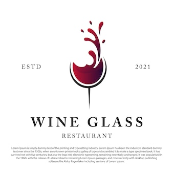 Logotipo de vinho retro vintage vinho com vetor de vidro para bar ou restaurante