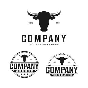 Logotipo de vintage de crachá de cabeça de vaca