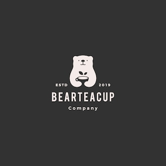 Logotipo de xícara de chá de urso
