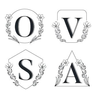 Logotipo decorativo de carta de luxo monocromático floral