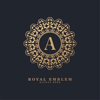 Logotipo decorativo de luxo com letras a