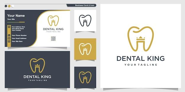 Logotipo dental com estilo coroa king e modelo de design de cartão de visita premium vector