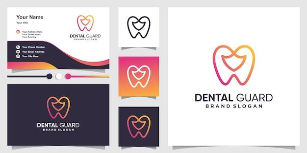 Logotipo dental com linha arte escudo estilo premium vector