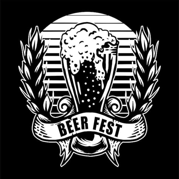 Logotipo desenhado à mão de cerveja vintage