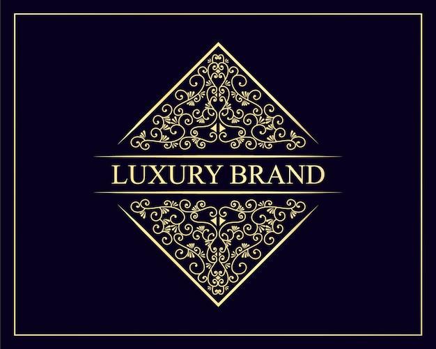 Logotipo desenhado à mão herança luxo royal vintage retro emblema decorativo moldura