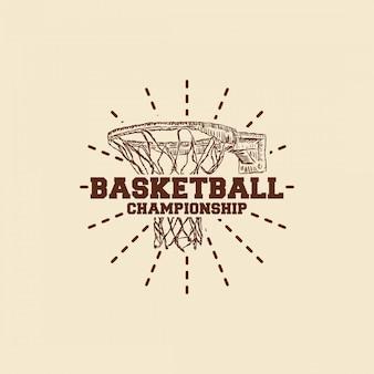 Logotipo desenhado de mão de basquete