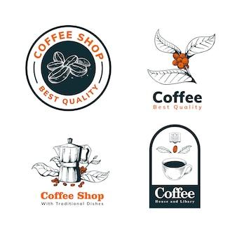 Logotipo desenhado de mão de café