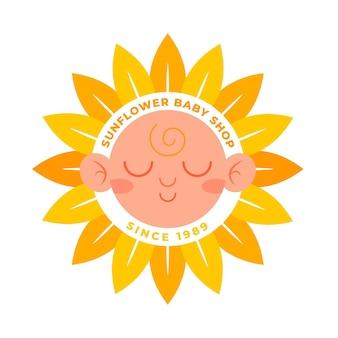 Logotipo detalhado da loja de bebês com girassóis