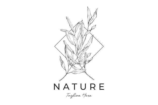 Logotipo detalhado desenhado à mão das folhas