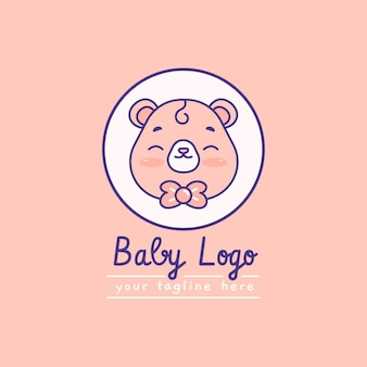 Logotipo detalhado do bebê com slogan