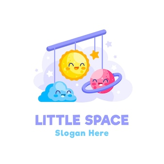 Logotipo detalhado do bebê com tema espacial
