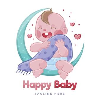 Logotipo detalhado do bebê fofo