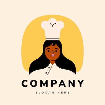 Logotipo detalhado do chef feminino