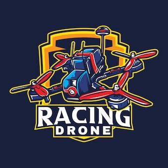 Logotipo detalhado do conceito do mascote do drone de corrida