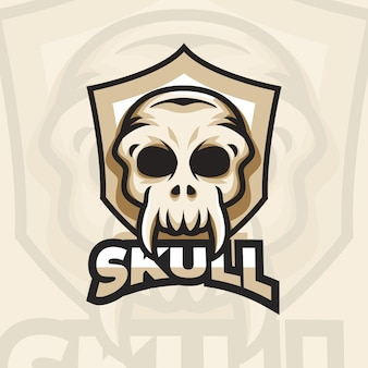 Logotipo detalhado do jogo de esportes do crânio