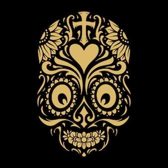 Logotipo dia de muertos tatuagem caveira ouro ornamentado