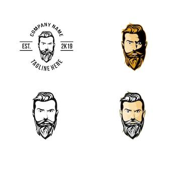 Logotipo dianteiro da barba da frente