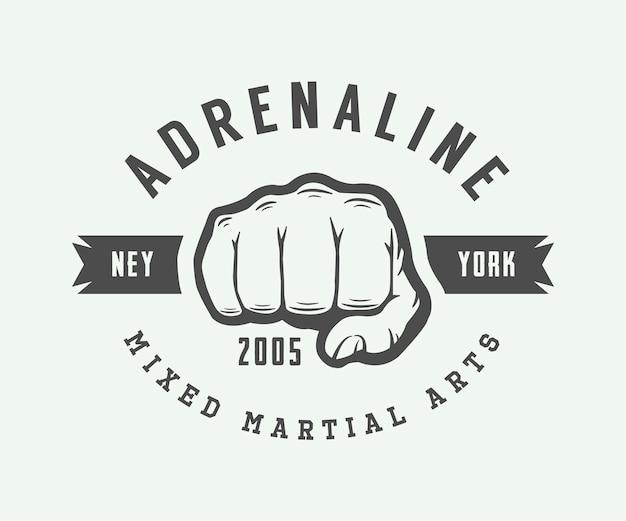 Logotipo, distintivo ou emblema do vintage das artes marciais mistas. ilustração vetorial