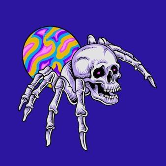 Logotipo divertido da cabeça do crânio de aranha
