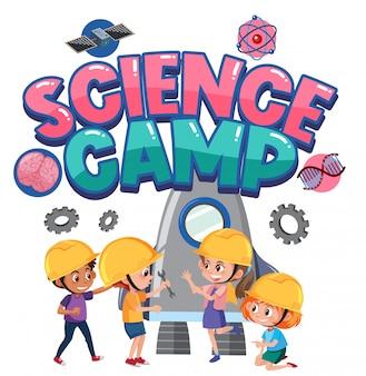 Logotipo do acampamento de ciência com crianças vestindo fantasia de engenheiro isolada