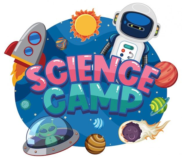 Logotipo do acampamento de ciências com objetos espaciais no espaço