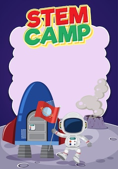 Logotipo do acampamento-tronco com banner em branco e astronauta com nave espacial