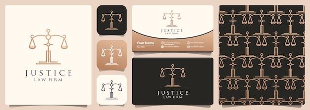 Logotipo do advogado de justiça advogado com um conjunto de modelo padrão e cartão de visita.