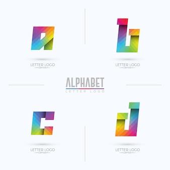 Logotipo do alfabeto origami pixelated colorido gradiente abcd
