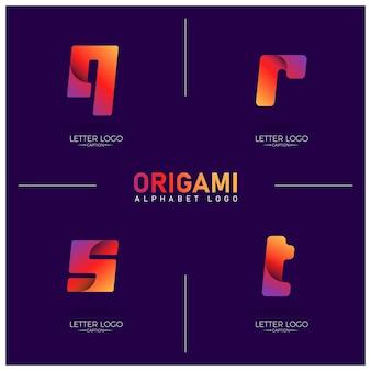 Logotipo do alfabeto qrst com gradiente colorido em estilo origami curvilíneo