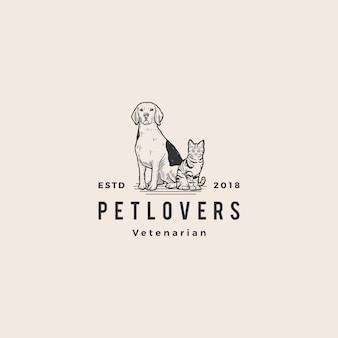 Logotipo do amante do animal de estimação do gato do cão