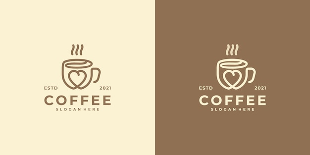 Logotipo do amante do café com estilo de arte de linha