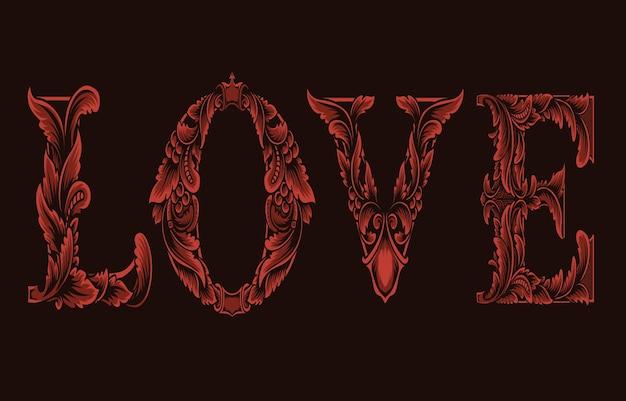 Logotipo do amor com gravura em estilo de ornamento