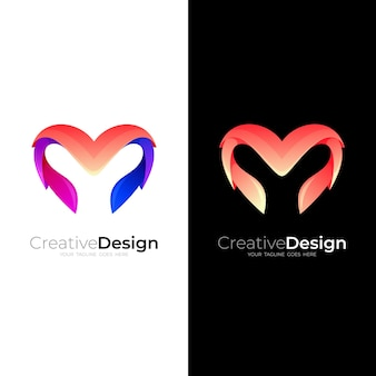 Logotipo do amor com ilustração de design da letra m, letra abstrata m s