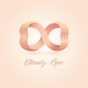 Logotipo do amor da eternidade. corações rosa conectados. amor sem fim