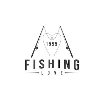 Logotipo do amor da pesca moderno