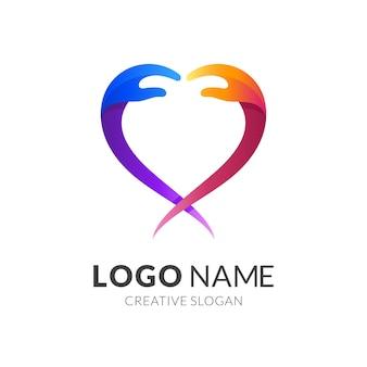 Logotipo do amor de mão, mão e amor, combinação de logotipo com colorido