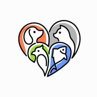 Logotipo do amor do animal de estimação