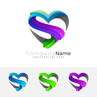 Logotipo do amor e combinação de design da letra s, ícones de caridade
