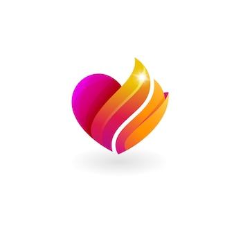 Logotipo do amor e combinação de design de fogo, cor vermelha, 3d colorido